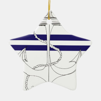 Tony Fernandes 2 blue stripe anchor Ceramic Star Decoration