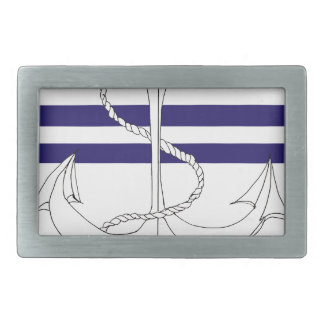 Tony Fernandes 2 blue stripe anchor Rectangular Belt Buckle