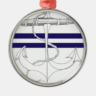 Tony Fernandes 2 blue stripe anchor Silver-Colored Round Decoration
