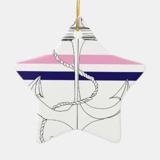 Tony Fernandes 2 mix stripe anchor Ceramic Star Decoration