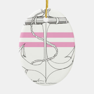Tony Fernandes 2 pink stripe anchor Christmas Ornament