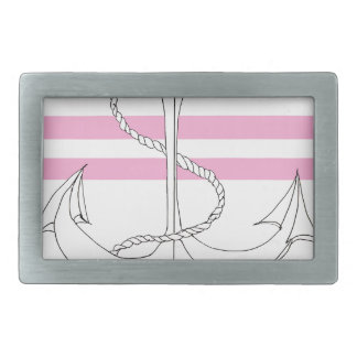 Tony Fernandes 2 pink stripe anchor Rectangular Belt Buckle