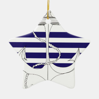 Tony Fernandes 4 blue stripe anchor Ceramic Star Decoration