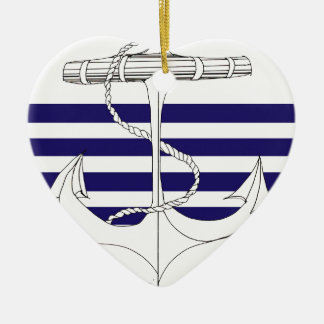 Tony Fernandes 4 blue stripe anchor Christmas Ornament