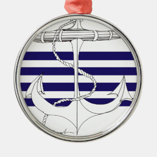 Tony Fernandes 4 blue stripe anchor Silver-Colored Round Decoration
