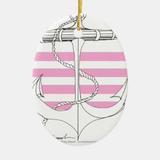 Tony Fernandes 4 pink stripe anchor Christmas Ornament