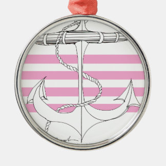 Tony Fernandes 4 pink stripe anchor Silver-Colored Round Decoration