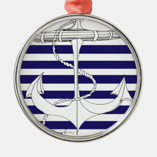 Tony Fernandes 6 blue stripe anchor Silver-Colored Round Decoration