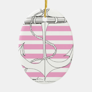 Tony Fernandes 6 pink stripe anchor Christmas Ornament