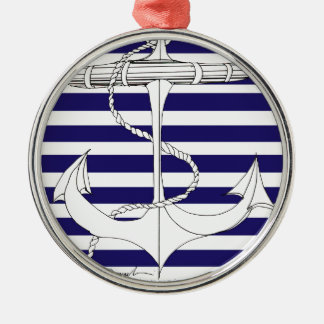Tony Fernandes 8 blue stripe anchor Silver-Colored Round Decoration