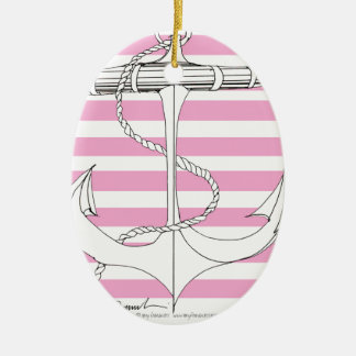 Tony Fernandes 8 pink stripe anchor Christmas Ornament