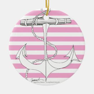 Tony Fernandes 8 pink stripe anchor Round Ceramic Decoration