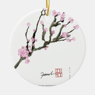 Tony Fernandes cherry blossom 8 Round Ceramic Decoration