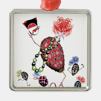 tony fernandes, hen party Silver-Colored square decoration