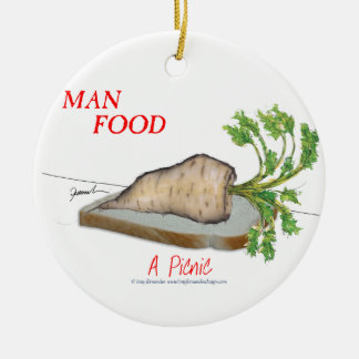 Tony Fernandes's Man Food - a picnic Round Ceramic Decoration