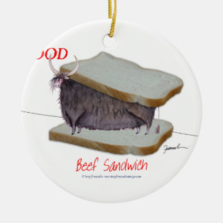 Tony Fernandes's Man Food - beef sandwich Round Ceramic Decoration
