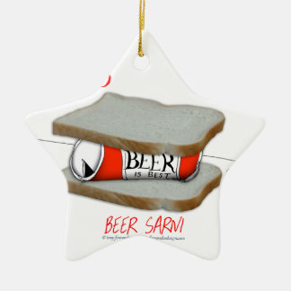 Tony Fernandes's Man Food - beer sarni Ceramic Star Decoration