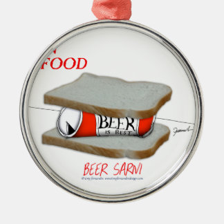 Tony Fernandes's Man Food - beer sarni Silver-Colored Round Decoration