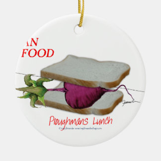 Tony Fernandes's Man Food - ploughmans lunch Round Ceramic Decoration