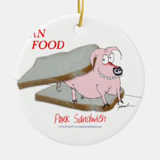 Tony Fernandes's Man Food - pork sandwich Round Ceramic Decoration