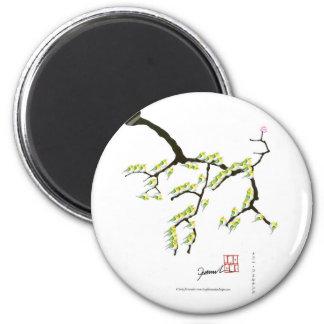 tony fernandes sakura and green birds 6 cm round magnet