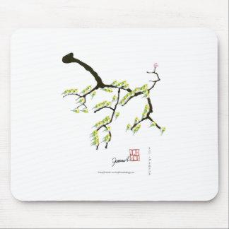 tony fernandes sakura and green birds mouse pad
