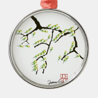 tony fernandes sakura and green birds Silver-Colored round decoration