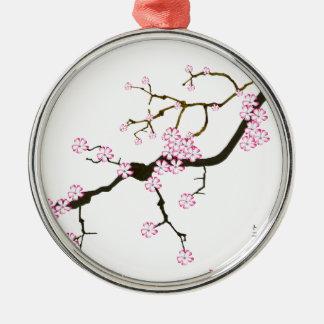 Tony Fernandes Sakura Blossom 6 Silver-Colored Round Decoration
