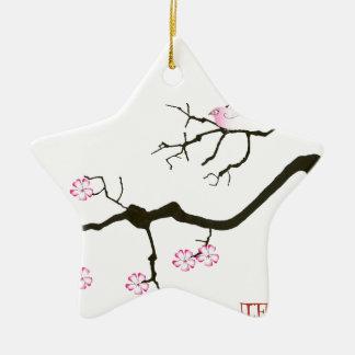 tony fernandes sakura blossom and pink bird christmas ornament