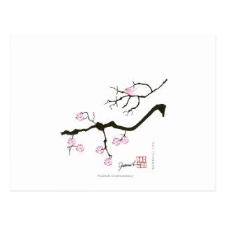 tony fernandes sakura blossom and pink bird postcard