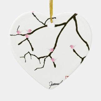 tony fernandes sakura with 7 pink birds 2 ceramic heart decoration