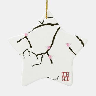 tony fernandes sakura with 7 pink birds 2 christmas ornament