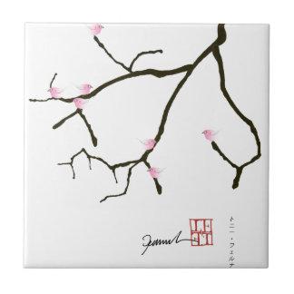 tony fernandes sakura with 7 pink birds 2 tile