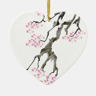 tony fernandes sakura with pink goldfish ceramic heart decoration