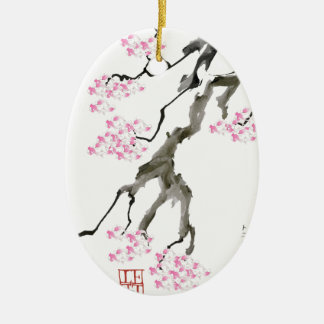 tony fernandes sakura with pink goldfish ceramic oval decoration