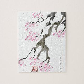 tony fernandes sakura with pink goldfish jigsaw puzzle