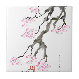 tony fernandes sakura with pink goldfish small square tile