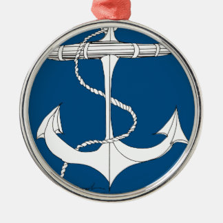 tony fernandes's anchor blue 1 Silver-Colored round decoration