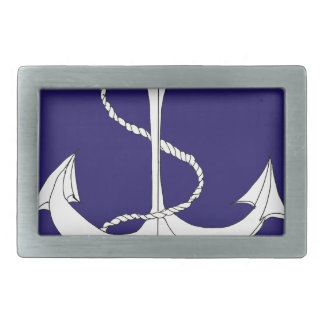 tony fernandes's anchor dark blue rectangular belt buckle