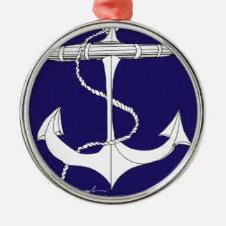 tony fernandes's anchor dark blue Silver-Colored round decoration