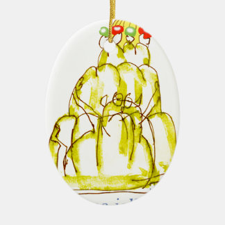 tony fernandes's banana jello cat ceramic oval decoration