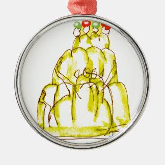 tony fernandes's banana jello cat Silver-Colored round decoration