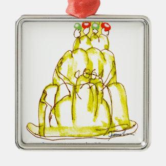 tony fernandes's banana jello cat Silver-Colored square decoration