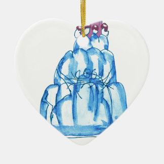 tony fernandes's blueberry jello cat ceramic heart decoration