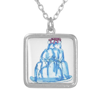 tony fernandes's blueberry jello cat silver plated necklace