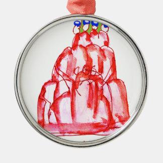 tony fernandes's cherry jello Silver-Colored round decoration