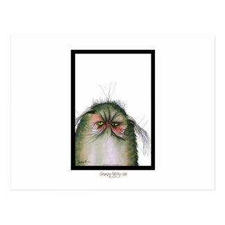 tony fernandes's grumpy tabby cat snap postcard