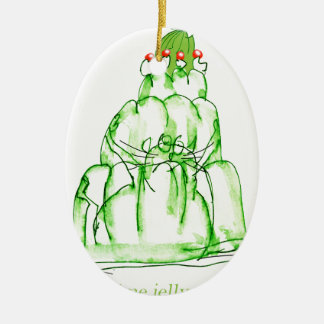 tony fernandes's lime jelly cat ceramic oval decoration