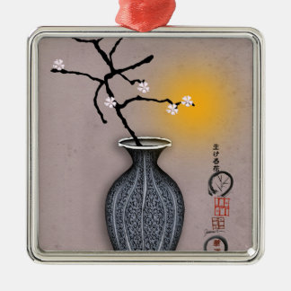 tony fernandes's moon and 7 plum blossom Silver-Colored square decoration