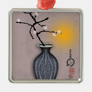 tony fernandes's moon and 8 plum blossom Silver-Colored square decoration